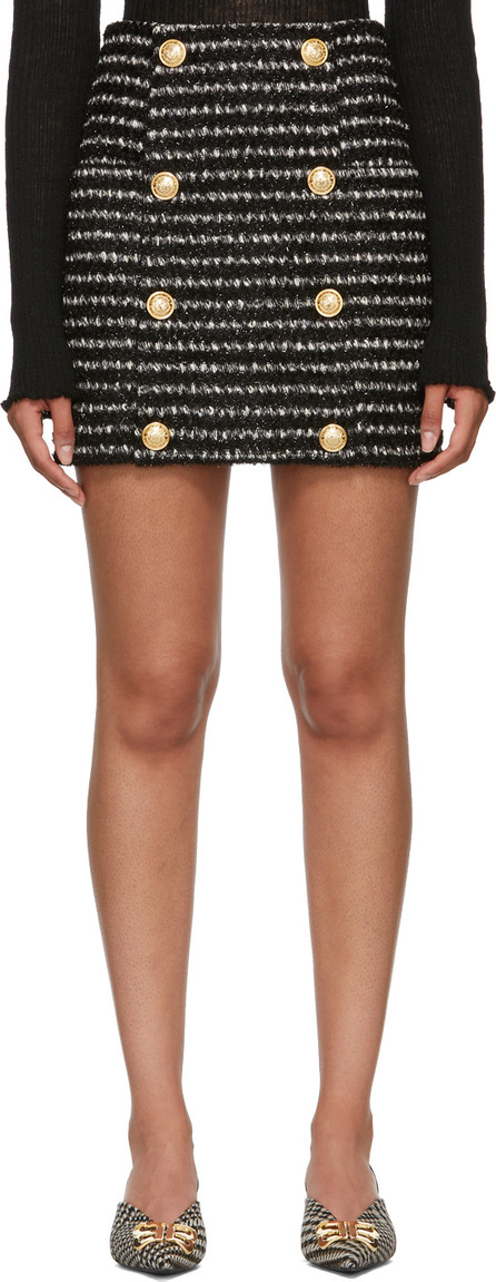 Balmain Black & White Striped Tweed Skirt