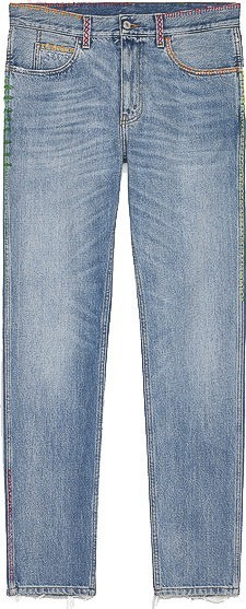 Gucci Embroidered denim slim pant
