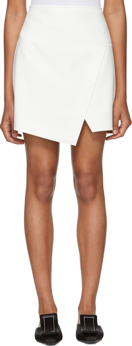 Tibi White Flap Front Mini Skirt