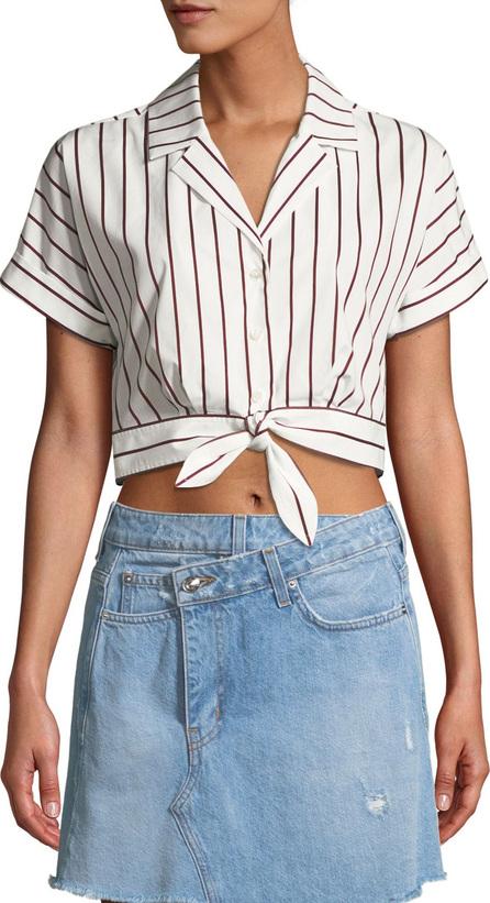 Derek Lam 10 Crosby Striped Short-Sleeve Tie-Waist Cropped Shirt