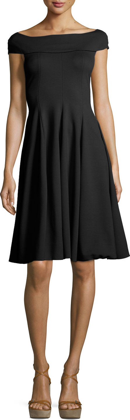 Armani Collezioni Milano Jersey Off-the-Shoulder Fit & Flare Dress