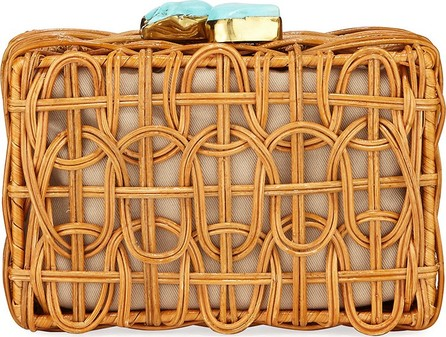 Aranaz Chloe Woven Rattan Clutch Bag