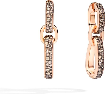 Pomellato Iconica 18k Rose Gold Pave Pendant Earrings w/ Brown Diamonds