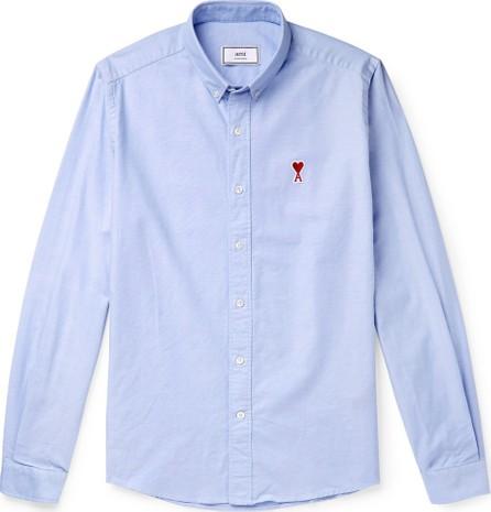 AMI Button-Down Collar Logo-Appliquéd Cotton Oxford Shirt