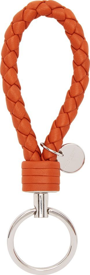 Bottega Veneta Orange Intrecciato Knot Keychain