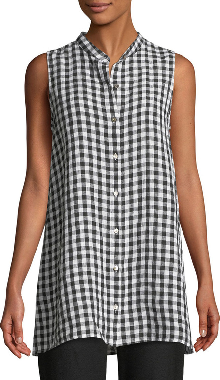 Eileen Fisher Sleeveless Organic Linen Gingham Tunic Shirt