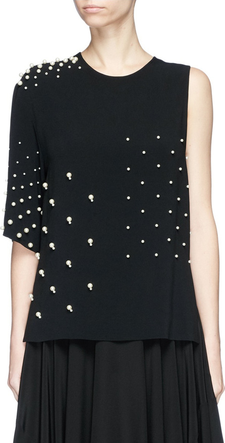 Stella McCartney Faux pearl embellished single sleeve cady top
