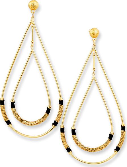 GAS Bijoux Zanzibar Double Teardrop Earring, Black/Gold