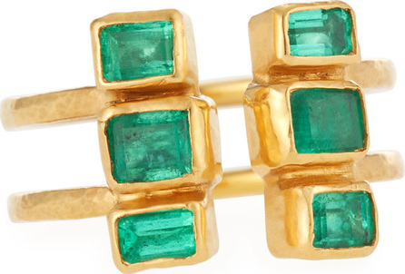 GURHAN 24k Gold Double Stacked Ring w/ Emeralds, Size 6.5