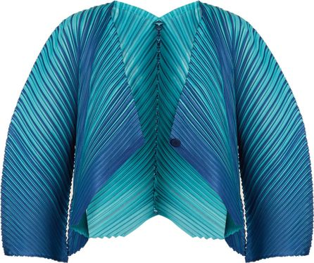 Pleats Please By Issey Miyake Alt striped pleated jacket