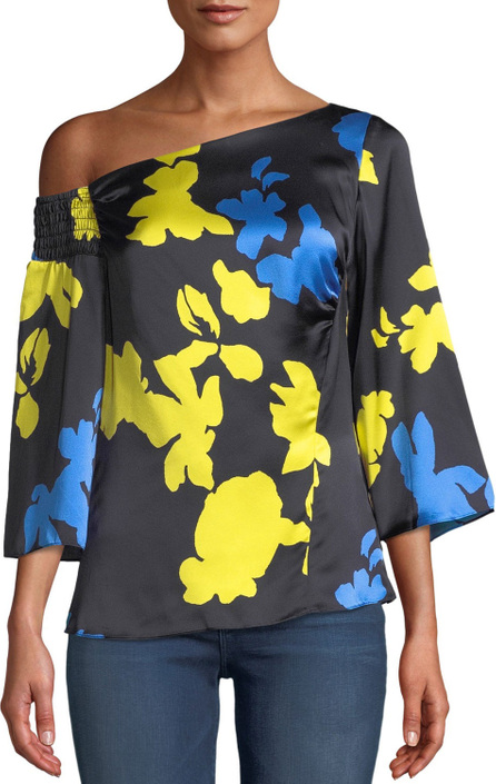 Tanya Taylor Bella Floral Silk One-Shoulder Top
