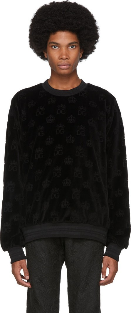 Dolce & Gabbana Black Velvet 'DG' Crown Sweatshirt