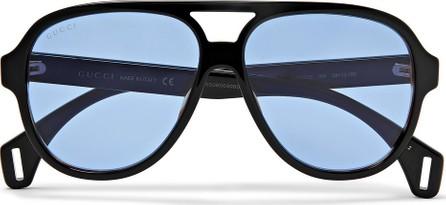 Gucci Striped Aviator-Style Acetate Sunglasses