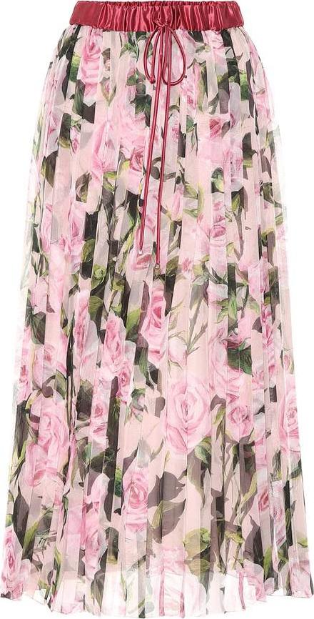 Dolce & Gabbana Floral-printed plissé midi skirt