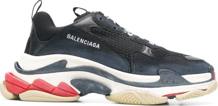 Balenciaga Black Distressed Triple S Sneakers