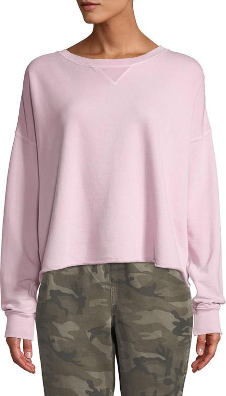 AMO Cropped Raw-Edge Pullover Sweatshirt