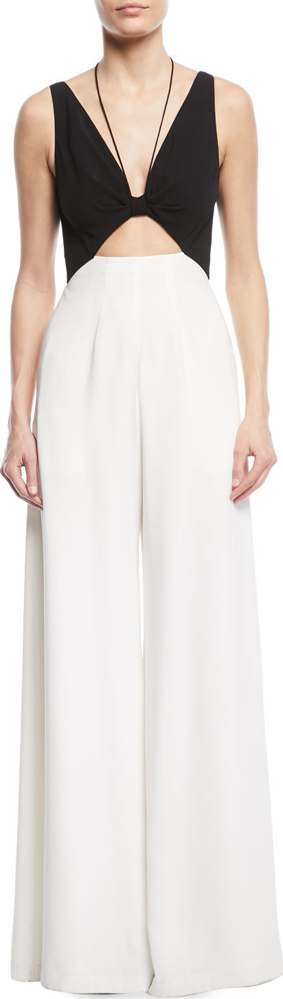 Jill Jill Stuart Jackie Two-Tone Cutout Jumpsuit w/ Pockets