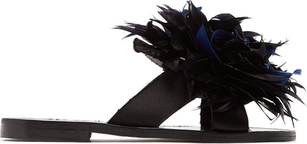 Álvaro Antoniona feather-trimmed leather sandals