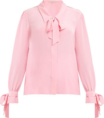 Pussy-bow silk shirt