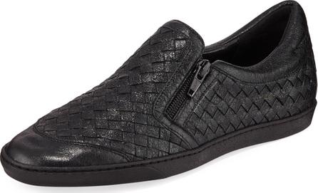 Sesto Meucci Falcon Woven Metallic Leather Sneakers, Black