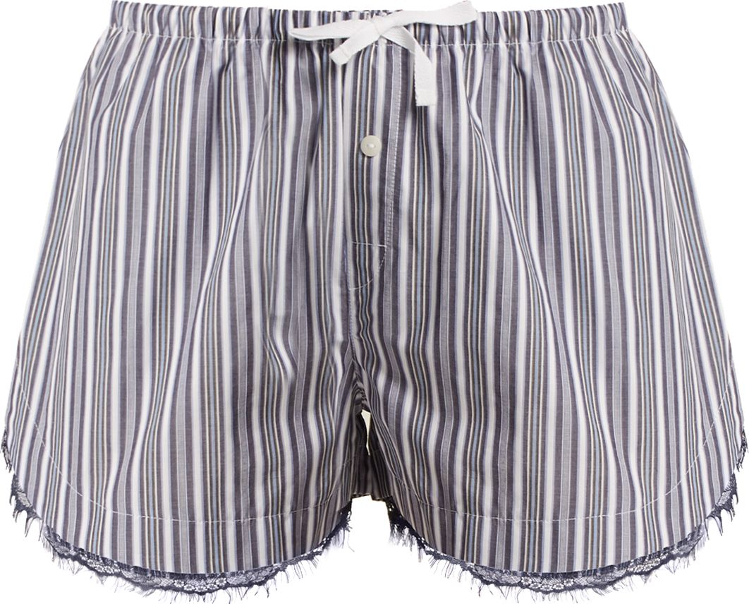 SKIN - Lace-trimmed striped-cotton pyjama shorts