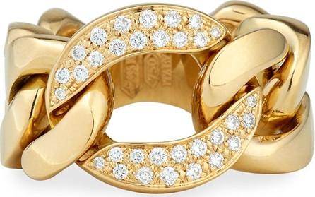 Bessa 18k Gold Curb Chain Link Diamond Ring, Size 6.5