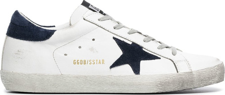 Golden Goose Deluxe Brand White and navy Superstar leather low-top sneakers