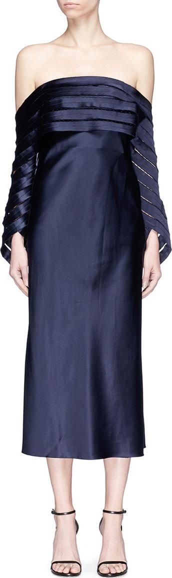 Spiral net sleeve off-shoulder satin dress