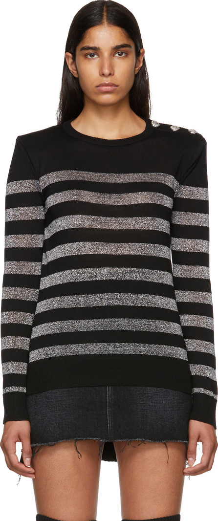Balmain Black & Silver Striped Sweater
