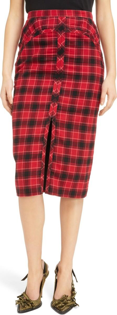 N°21 Nº21 Plaid Zip Front Pencil Skirt