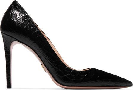 Prada 100 glossed croc-effect leather pumps