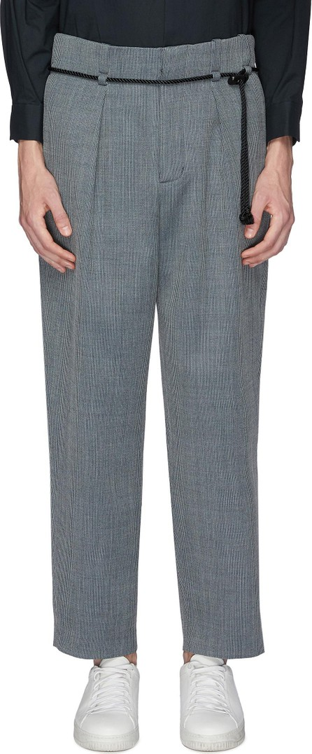ETHOSENS Belted pleated wool pants