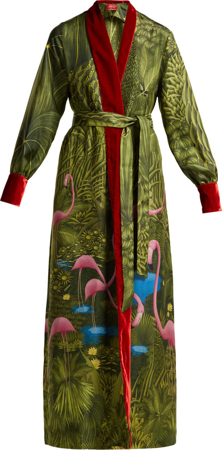 F.R.S For Restless Sleepers Tharos flamingo-print silk coat
