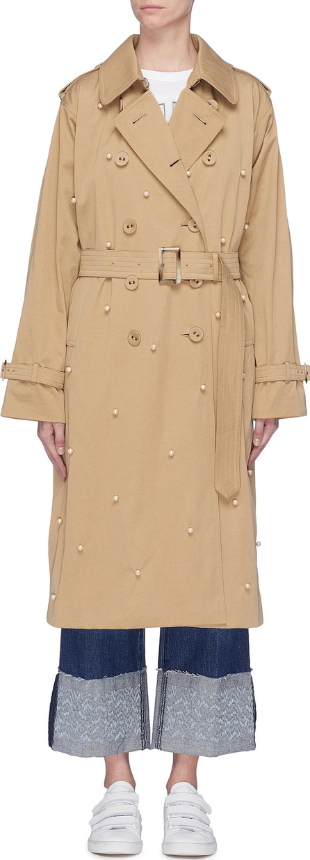Tu Es Mon Tresor Faux pearl embellished belted faux fur lined trench coat