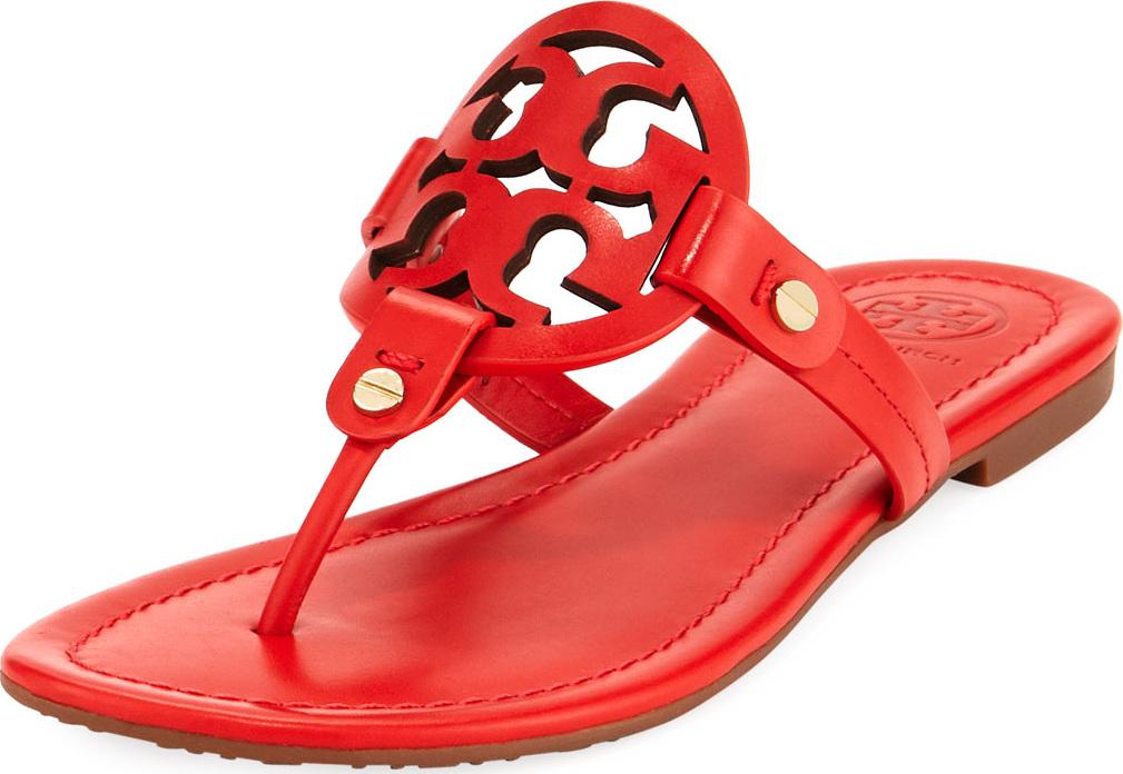 879d9e148 Tory Burch Miller Leather Logo Flat Slide Sandals - Mkt