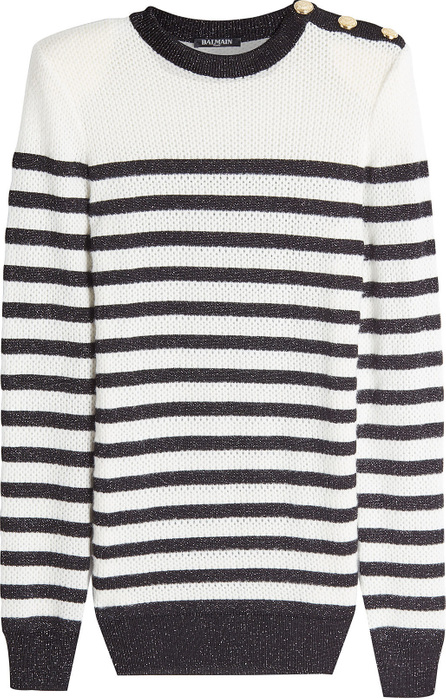 Balmain Striped Pullover with Embossed Buttons