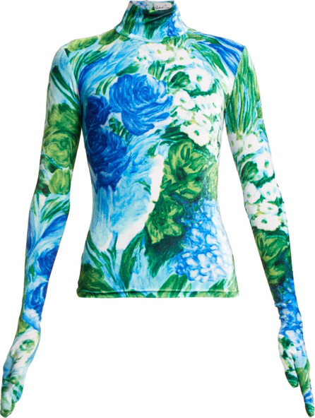 Richard Quinn Floral-print high-neck velvet top