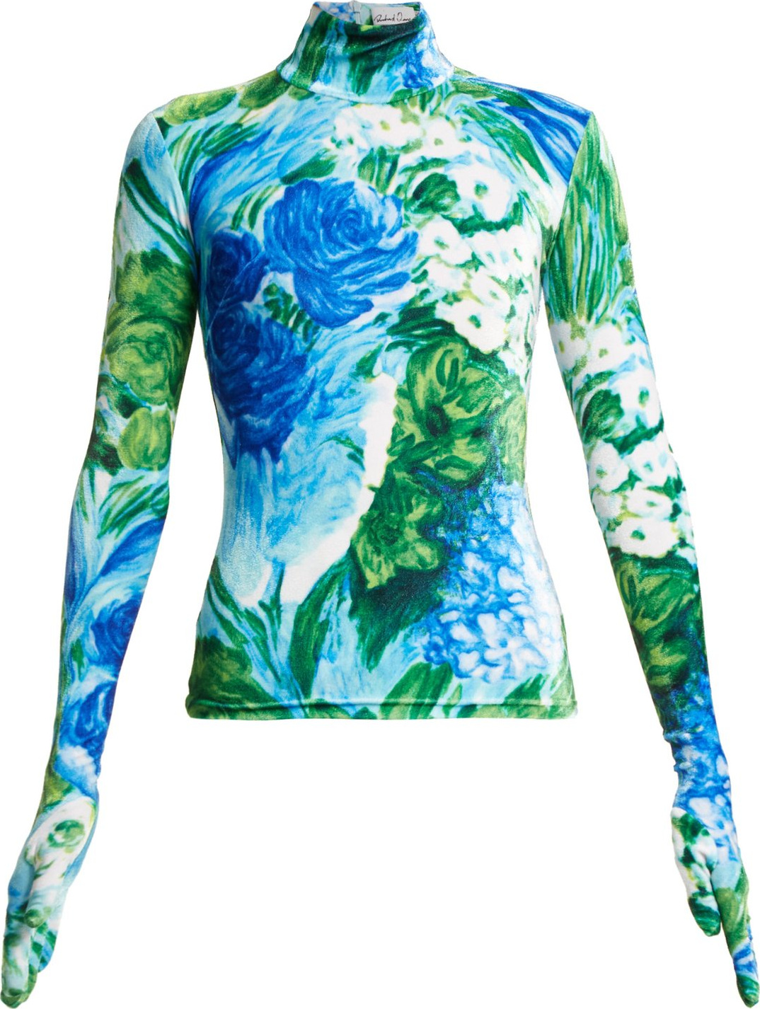 Richard Quinn - Floral-print high-neck velvet top