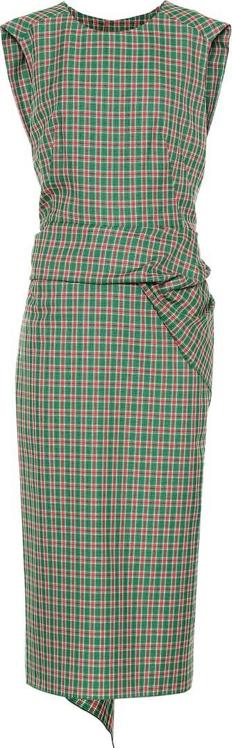 Dries Van Noten Checked cotton-blend midi dress