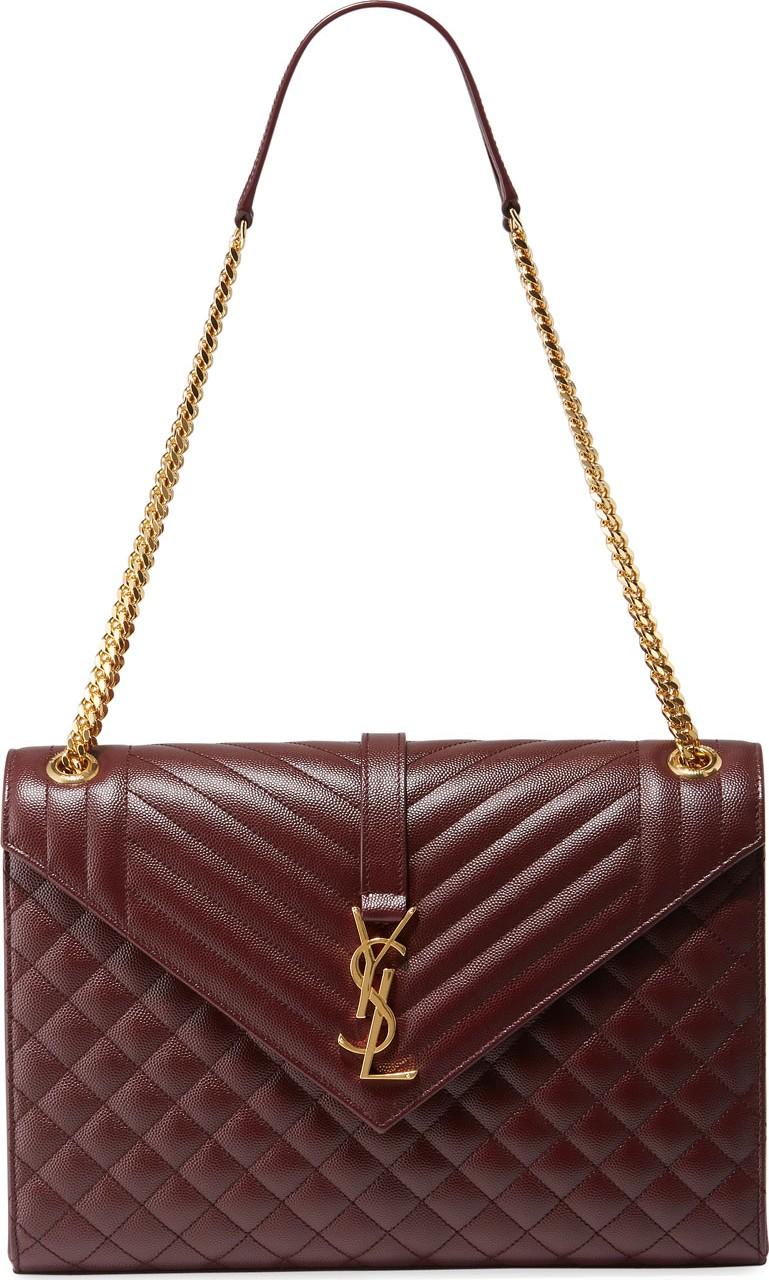 Saint Laurent Monogram YSL V-Flap Large Tri-Quilt Envelope Chain Shoulder  Bag - Golden Hardware 7a8ad4bd2c599