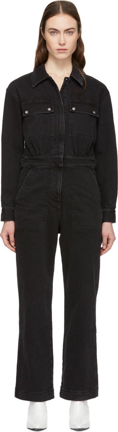 Alexachung Black Denim Boiler Jumpsuit
