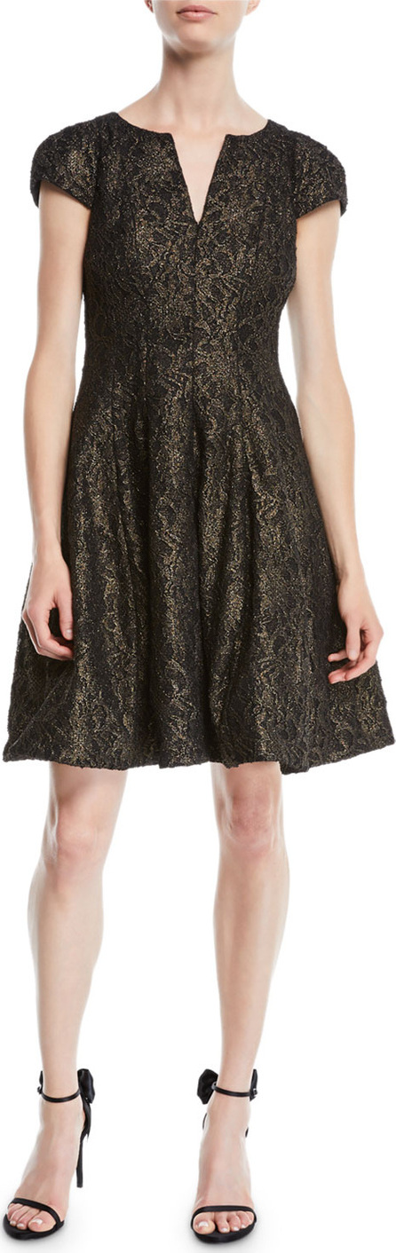 HALSTON HERITAGE Metallic Lace Cap-Sleeve Cocktail Dress w/ Slit Neck