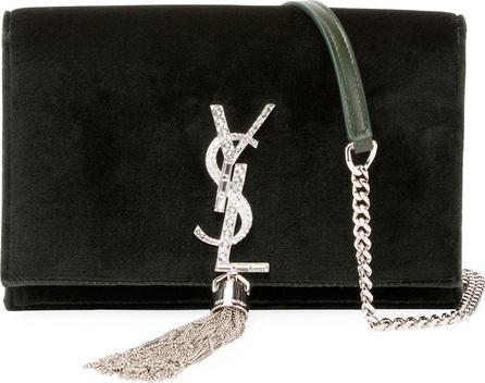 Saint Laurent Kate Velvet Crystal-Monogram YSL Tassel Wallet on Chain