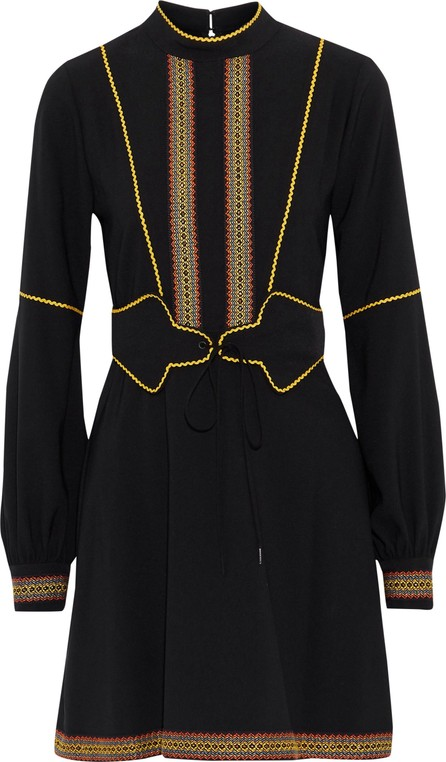 Anna Sui Embroidered crepe mini dress