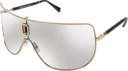Balmain Metal Cutout Shield Sunglasses