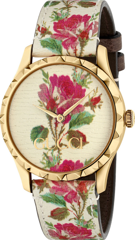 Gucci 38mm G-Timeless Blooms Leather Watch, Gold/Beige