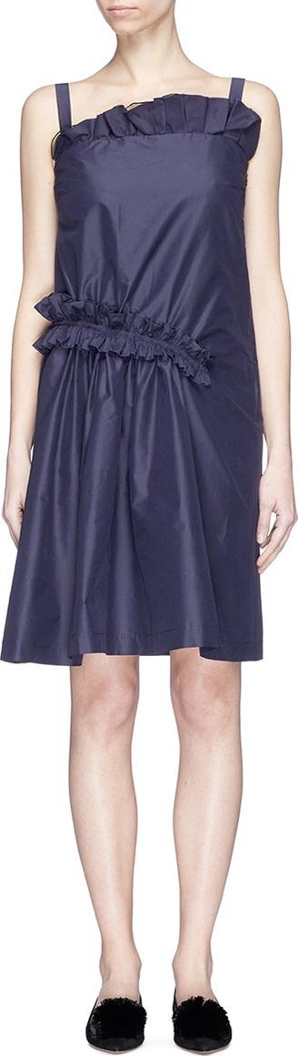 Lanvin Asymmetric ruffle poplin dress