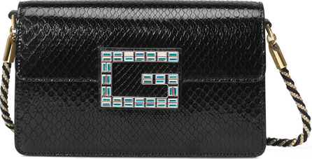 Gucci Broadway Small Python Snake Shoulder Bag with Square G