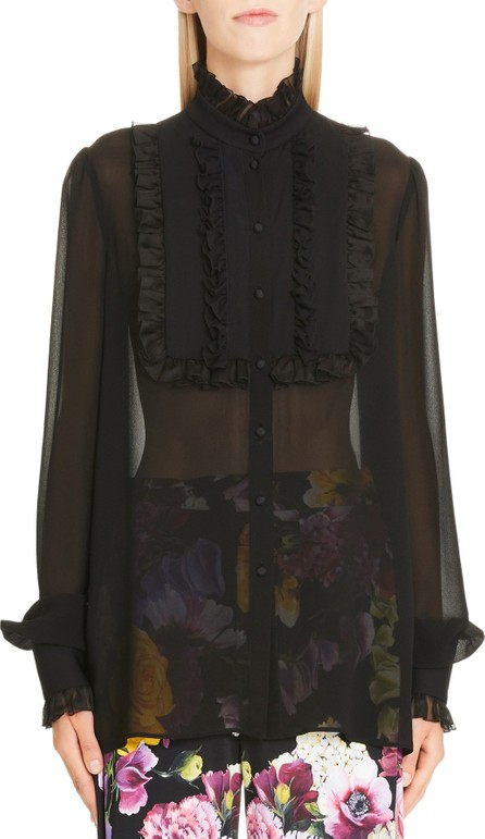 Dolce & Gabbana Ruffle Bib Sheer Stretch Silk Blouse