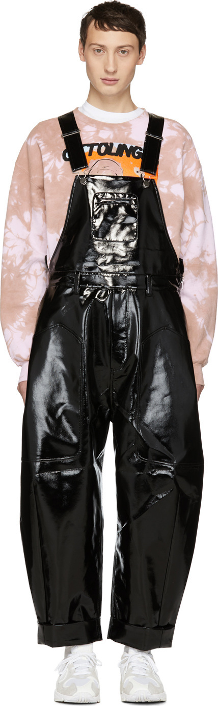Chen Peng Black Glossy Overalls